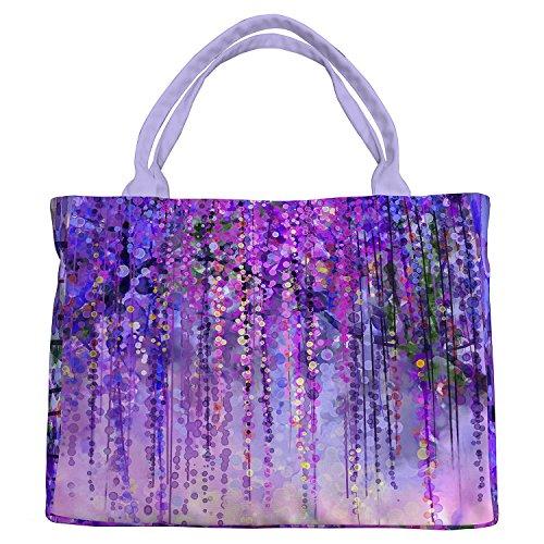Custom Wisteria Flowers Tree Purple Violet Floral Canvas Shoulder Bags Handbags Tote Bags Shopping Bag