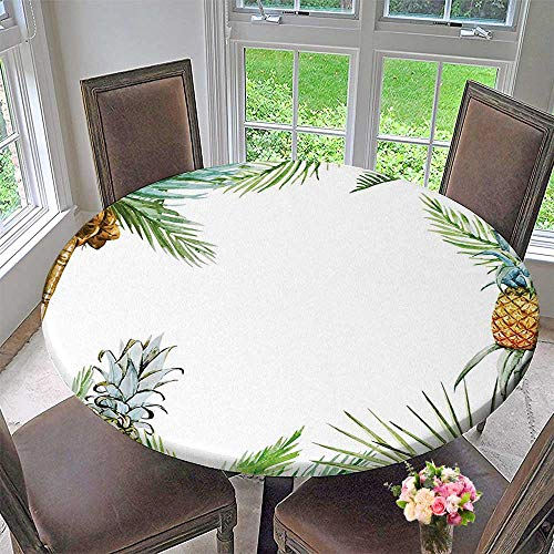 Mikihome Round Tablecloths Watercolor Tropical Island Style Border Print with Exotic Fruit Palm Trees and Leaves or Everyday Dinner, Parties 63
