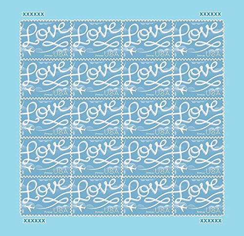 Blue Postage Stamp - USPS Forever Stamps 2017 Love Skywriting Valentine's Day, 20 Piece