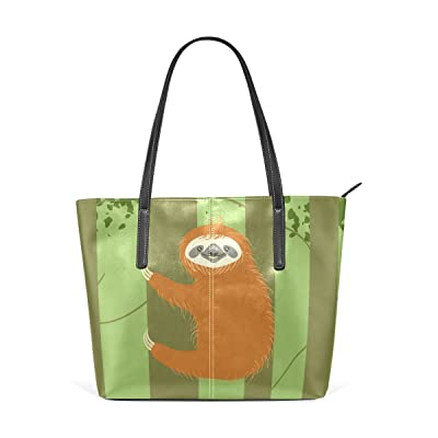 WellLee Beach Travel Tote Cartoon Climbing Sloth PU Leather Handbag