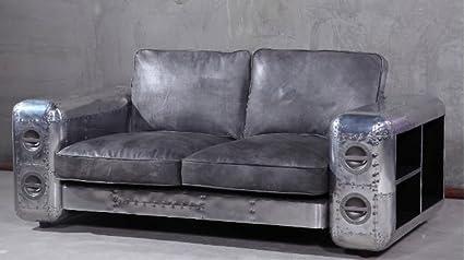 Peachy Amazon Com Nauticalmart Vintage Leather And Aluminium Sofa Lamtechconsult Wood Chair Design Ideas Lamtechconsultcom