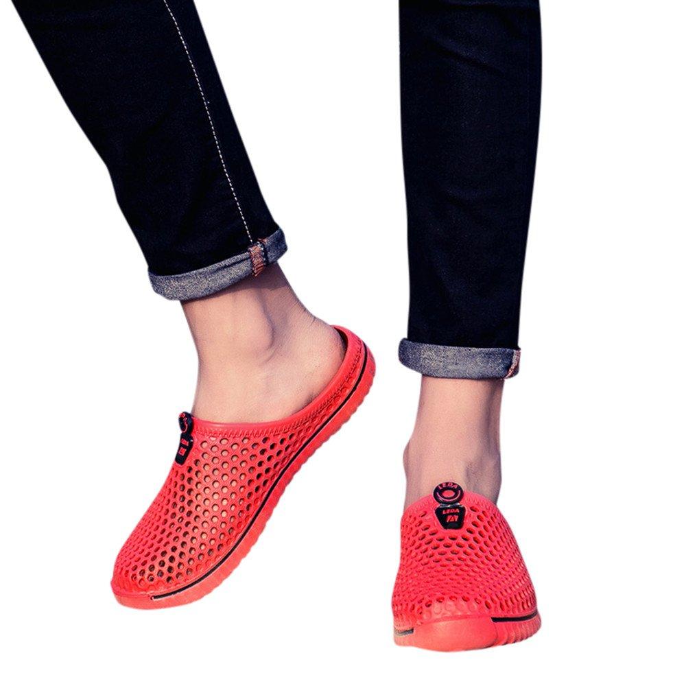 NRUTUP Men Shoes Unisex Hollow out Casual Couple Beach Sandal Flip Flops Shoes(Red,37)