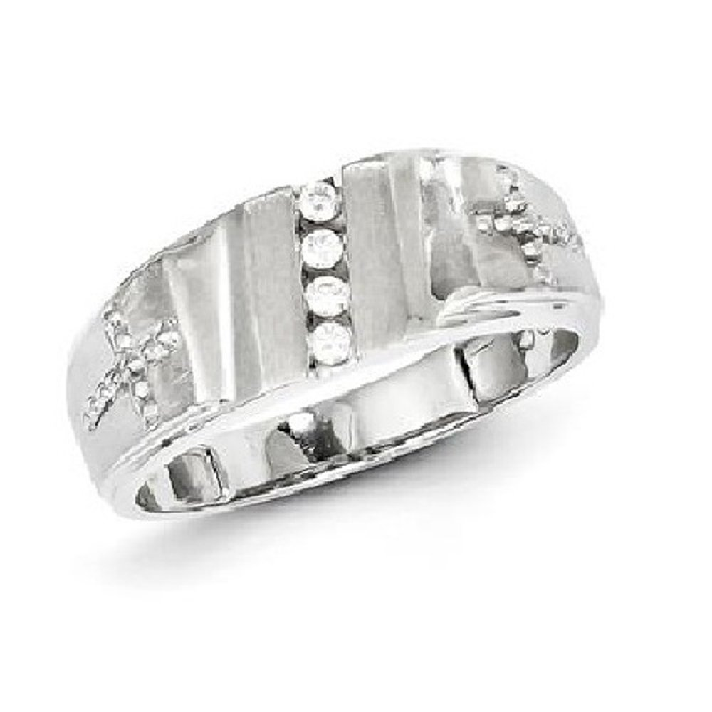 Silvercz Jewels Sterling Silver 1/4 Carat D/VVS1 Diamond & Cross Men's Wedding Band Ring