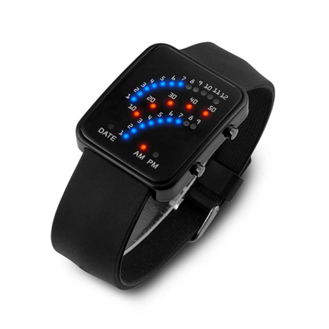 reloj LED deportivo silicona para hombre y mujer, QinMM pulsera con LED digital (Negro): Amazon.es: Relojes