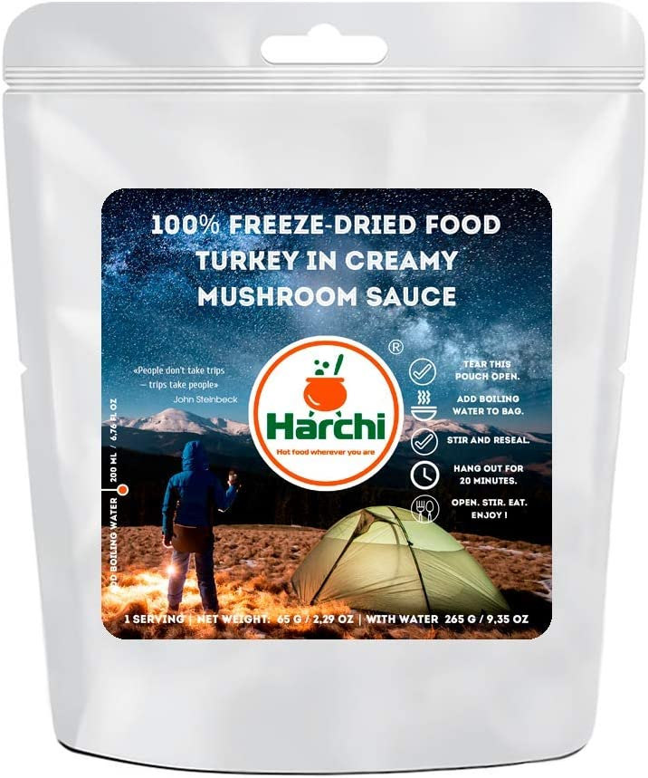 100% Freeze-Dried Food | Turkey in Creamy Mushroom Sauce | Freeze Dried Backpacking & Camping Food | Survival & Emergency Food