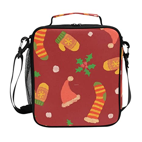 7c8a63c5e14c DEYYA Christmas Seamless Print Square Insulated Lunch Tote Bag Cooler Bag  Zipper Lunchbox Meal Handbag with