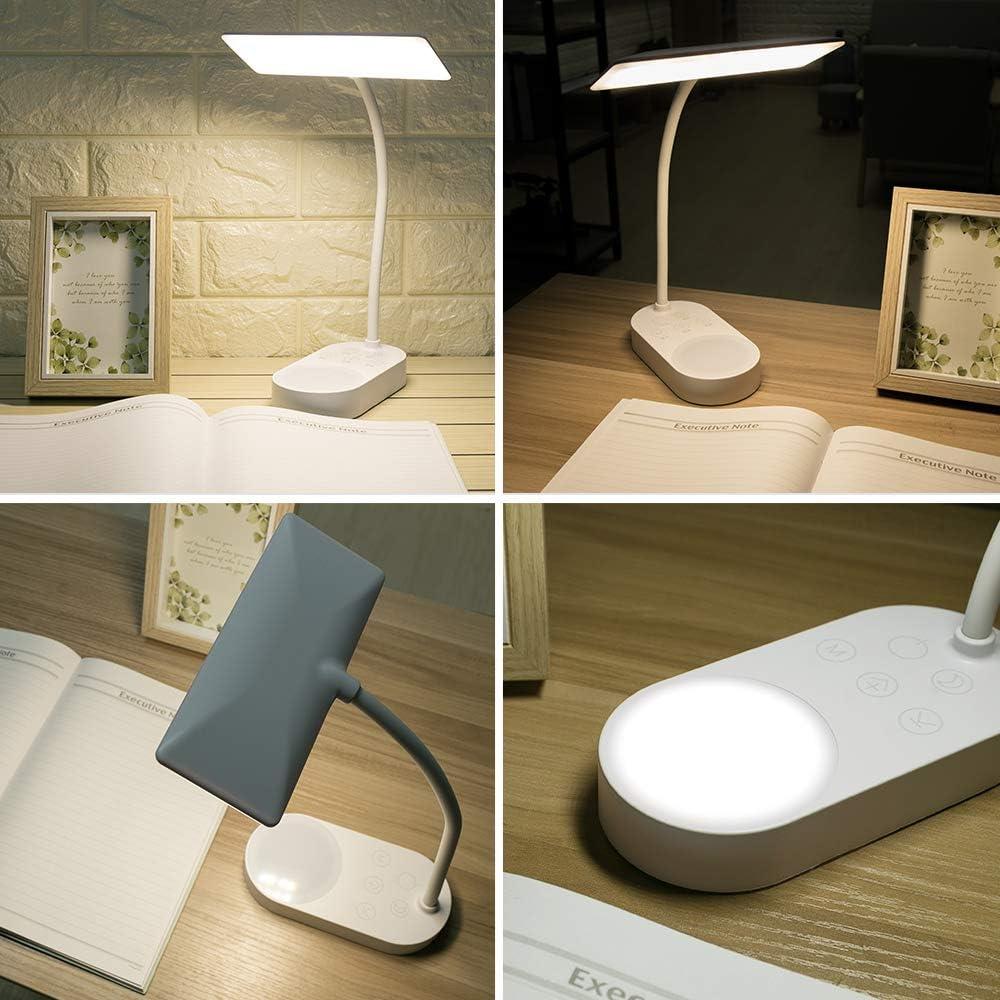 Nachttischlampe Tageslicht Wiederaufladbar Batteriebetrieben LED Schreibtischlampe Tischlampe Kinder,Flexibel Dimmbare Leselampe Buch licht Augenschutz USB Akku Tischleuchte Leselicht Buchlampe Bett