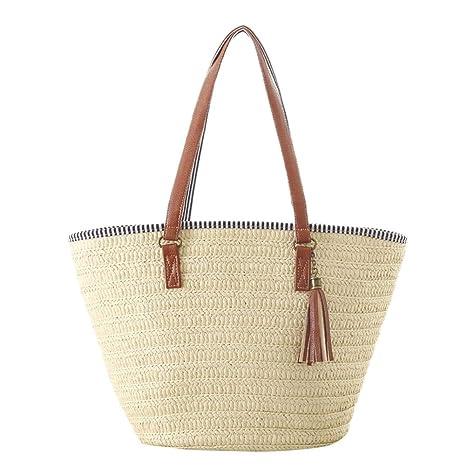 fancylande bolsa de playa bolso paja bolso mujer paja, Bellota bolso en paja verano,