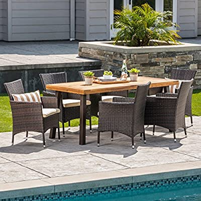 Great Deal Furniture 304312 Randy | Outdoor 7-Piece Acacia Wood and Wicker Dining Set with Cushions | Teak Finish | in Multibrown/Beige, Rustic Metal - The beautiful blend of wood and wicker comes to life with this dining set. Complete with six wicker dining chairs and one wooden table, you can enjoy eating in your backyard whenever you want. The wooden table is treated to withstand even the harshest of seasons, ensuring your set looks great all year long. This set also comes with the added benefit of cushions for your seats, giving you the perfect color contrast. Includes: One (1) Table and Six (6) Chairs Table Material: Acacia Wood | Table Leg Material Iron | Chair Material: Faux Wicker | Chair Frame Material: Iron | Cushion Material: Water Resistant Fabric | Composition: 100% Polyester | Table Top Finish: Teak | Table Leg Finish: Rustic Metal | Wicker Finish: Multibrown | Cushion Color: Beige - patio-furniture, dining-sets-patio-funiture, patio - 61G VxVEKqL. SS400  -