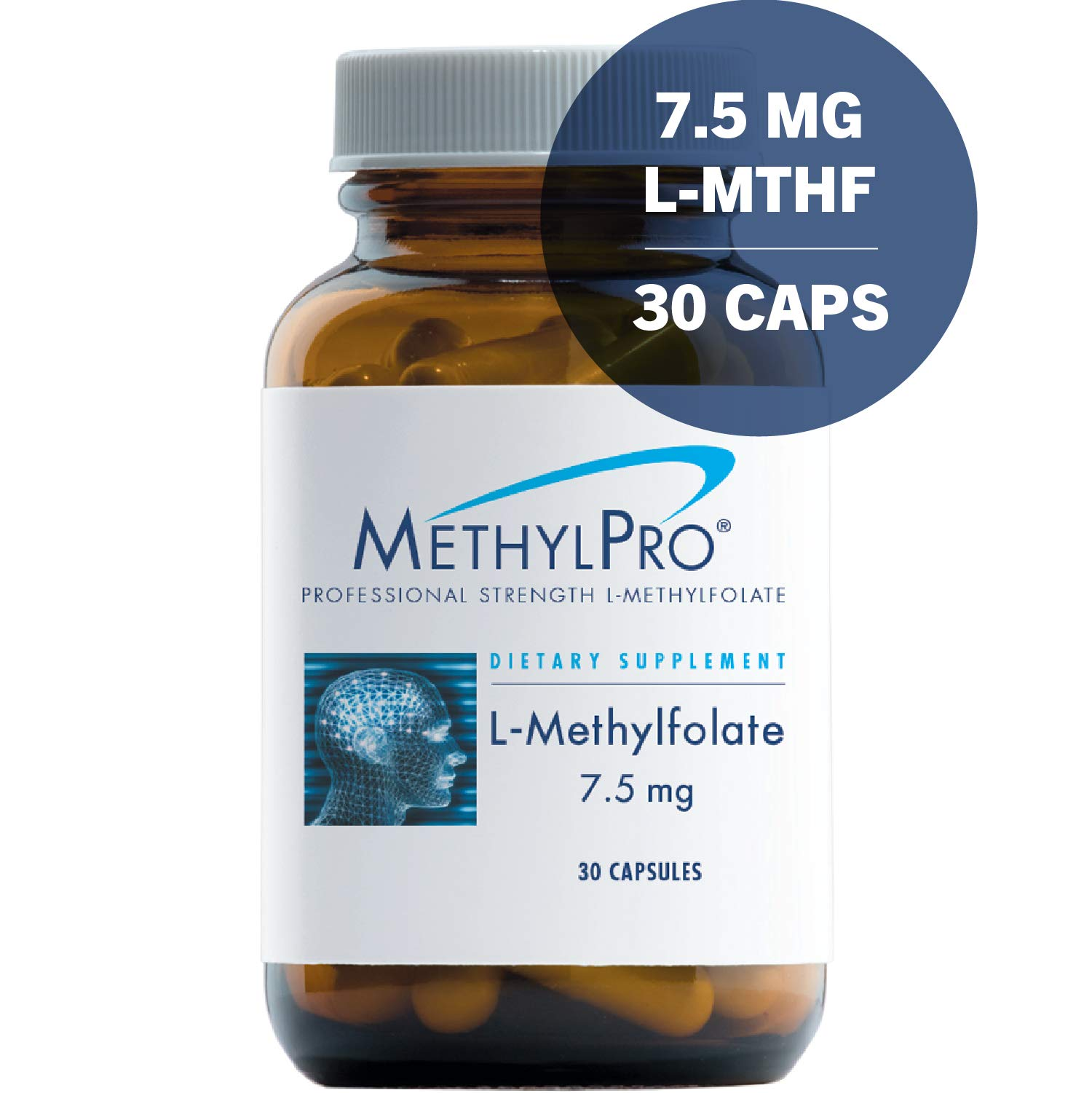 MethylPro 7.5mg L-Methylfolate 30 Capsules - No Fillers, Professional Strength 7500mcg Active Folate, 5-MTHF for Mood, Homocysteine Methylation + Immune Support, Non-GMO + Gluten-Free by MethylPro