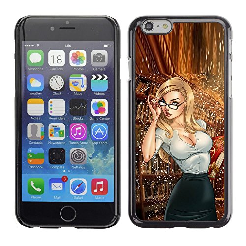 All Phone Most Case / Hard PC Metal piece Shell Slim Cover Protective Case for Apple Iphone 6 librarian secretary glasses babe hot - Glasses Hot Chick