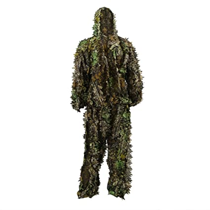 Ghillie Suit 3D, Traje de Camuflaje Hoja Protector Bosques Ropa Respirable Traje Al Aire Libre para Caza Woodland Ligero Escondido y Airsoft