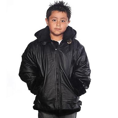 7bb5dff9ada9da Amazon.com: Wilda Boys Leather Jacket - Faux Fur Throughout size S ...