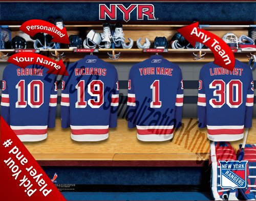 New York Rangers Team Locker Room Clubhouse Personlized Officially Licensed NHL Photo - Clubhouse Rangers