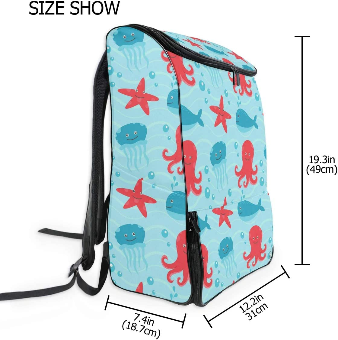 MONTOJ Cute Jellyfish and Octopus Travel Laptop Backpack Extra Large College School Backpack for Men and Women
