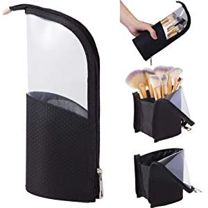 Travel Make-up Brush Organizer Bag,Pen Pencil Cup Holder Case for Desk,Portable Transparent Cosmetic Zipper Pouch,Waterproof Dust-Free Stand-up Small Toiletry Stationery Bag with Divider,Black