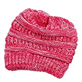 VeMee Ponytail Beanie Winter Chunky Messy Bun Beanie Solid Stretch Cable Knit Hat Cap (COLO2)