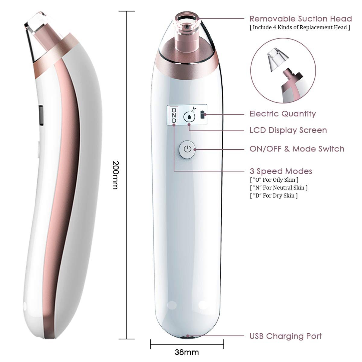Blackhead Remover USB Rechargeable Electric Facial Pore Cleanser with LED Display, Electric Acne Comedone Extractor Kit Facial Pore Extractor for Acne Grease Dirt Dead skin (White)