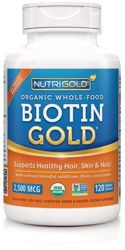 Biotin Gold- Hair, Skin and Nails Support - 2,500 mcg (120 veg capsules) by NutriGold