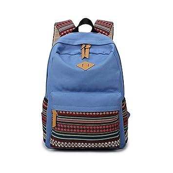 Mochila de lona para Mujer Casual Mochilas Escolares Backpacks-Azul: Amazon.es: Equipaje