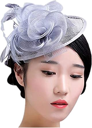 Elegant Women Fascinator Feather Headband Cocktail Wedding Party Headpiece