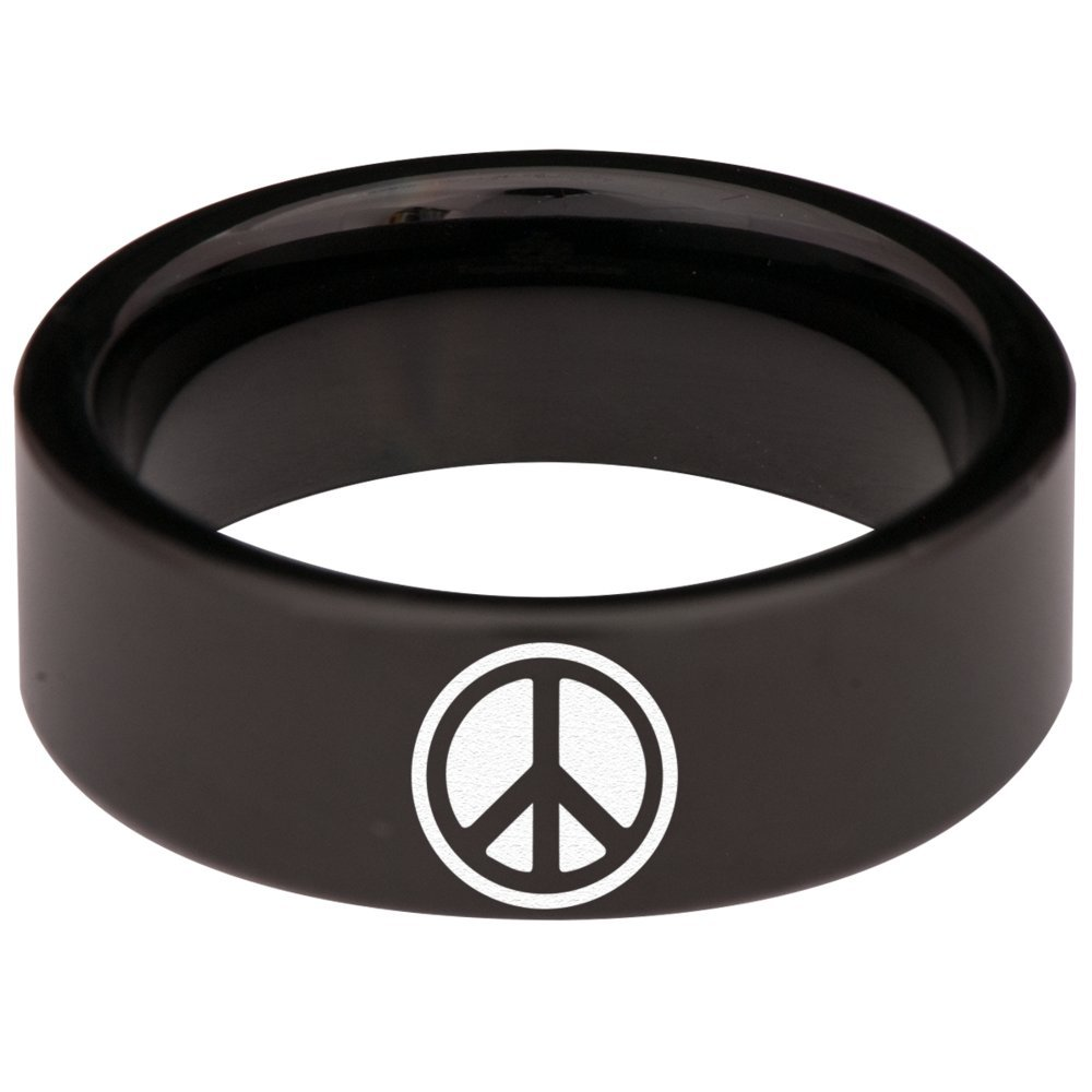 Black Tungsten Carbide Peace Ring 8mm Wedding Band Anniversary Ring for Men and Women Size 7.5