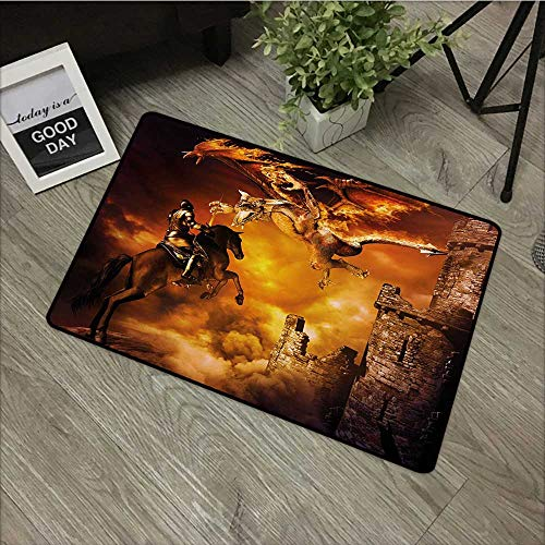 Interior mat W31 x L47 INCH Modern,Kids Nursery with a Knight on a Horse Castle Mystic Fairytale Artwork Print,Black and Marigold Easy to Clean, Easy to fold,Non-Slip Door Mat Carpet