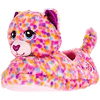 Esquire Footwear Build A Bear Workshop | Little Kids Girls' Boys' Character Slippers House Shoes - Confetti Leopard/Kitty (Small 10-11)