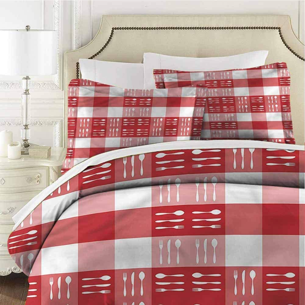 Checkered Bedding Set Cutlery Dining Tile Twin (68x90 inches) - 3 Pieces (1 Duvet Cover + 2 Pillow Shams) - with Zipper Closure Ultra