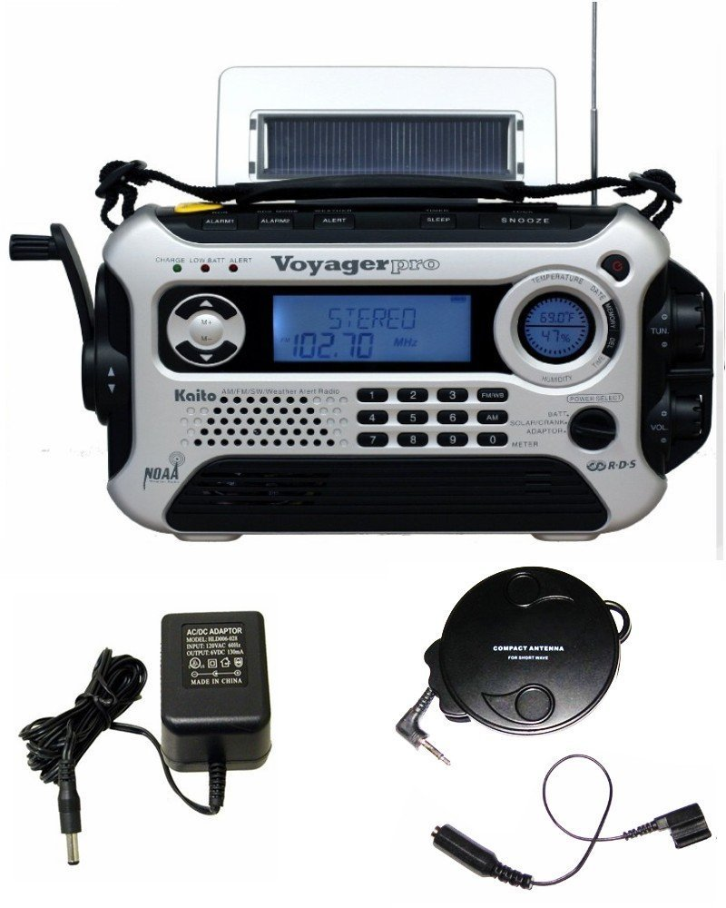 Kaito KA600 Silver Solar/Crank AM/FM/SW NOAA Weather Radio, BONUS AC adapter/charger, Bonus Reel Antenna, 5-LED reading lamp, 3-LED flashlight … by Kaito