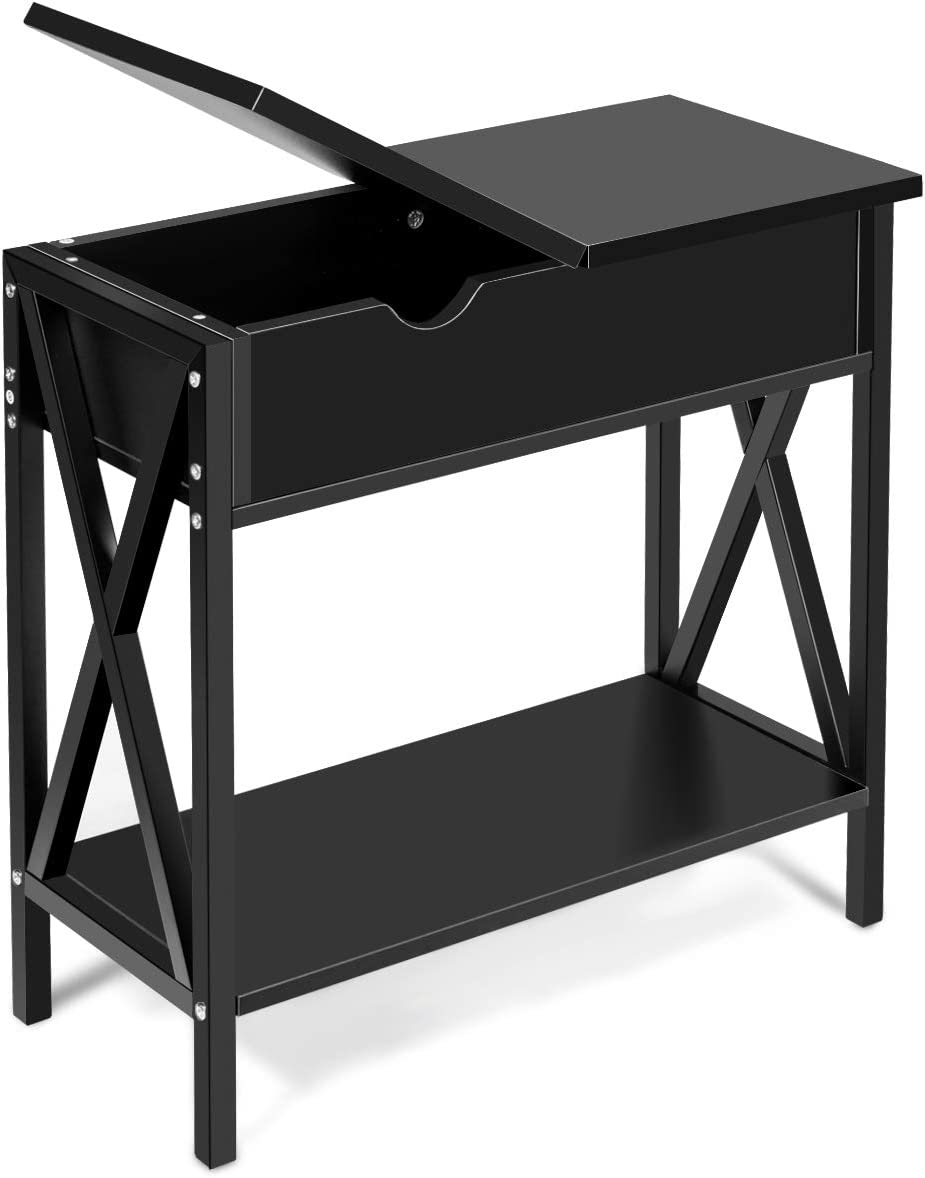 Giantex Console Table W Flip Top, Shelf and Hidden Hinged Storage for Entryway Hallway, Living Room, Office and Bedroom, Multifunctional Usage Accent Corner Couch Sofa Side Table End Table Black