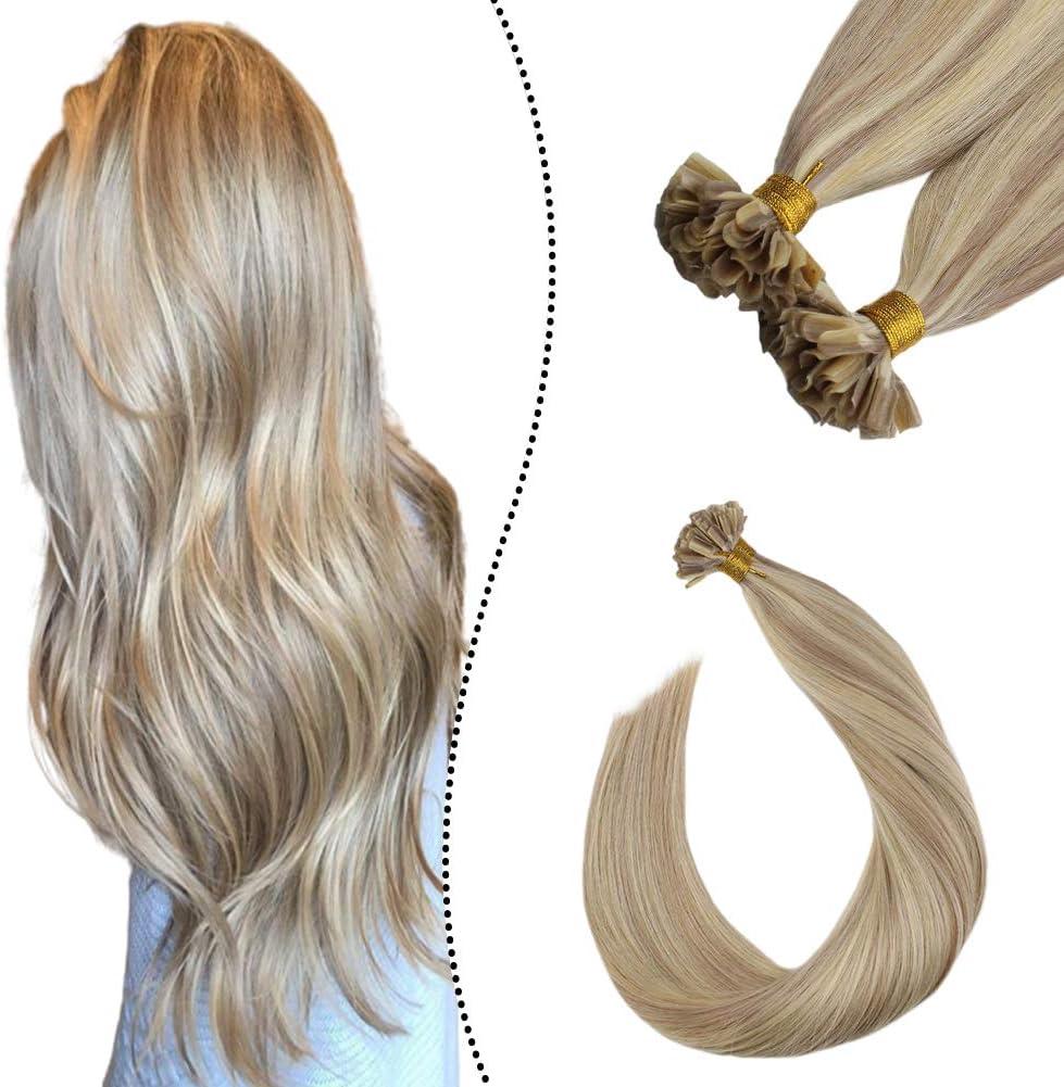 Ugeat Highlighted Extensiones de Cabello Humano Rubio Ceniza con Rubio Blanqueador #P18/613 45cm Brazilian Keratin Extensions Hot Fusion Human Hair 1G ...