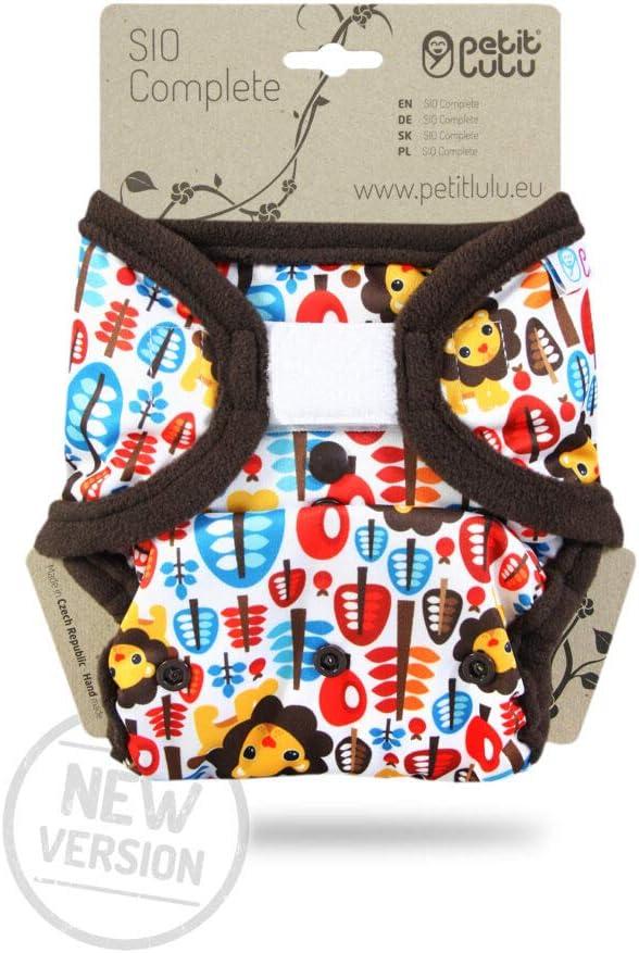 Wiederverwendbar und Waschbar Klett Lagune Petit Lulu AI2 Stoffwindel One Size 4-15 kg | SIO Complete Neue Version Short Insert Hergestellt in EU Baby SIO Komplettwindel