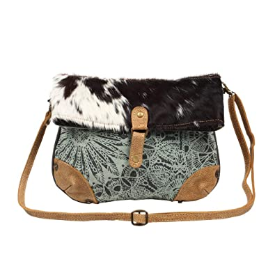 f805e2d072d4 Myra Bag Macey Flap Over Upcycled Canvas & Cowhide Leather Small Crossbody  Bag S-1221