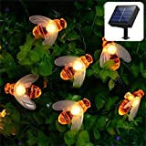Vlio Solar String Lights Outdoor Waterproof Solar Powered Garden Fairy Lights 30 LED Honey Bee Shape Lights for Home, Patio, Xmas, Summer, Party, Wedding, Xmas Decoration (Warm White)