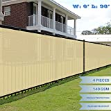 E&K Sunrise 6' x 98' Beige Fence Privacy Screen, Commercial Outdoor Backyard Shade Windscreen Mesh Fabric 3 Years Warranty (Customized Sizes Available) - Set of 4