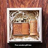2 pcs set Personalized gift Vintage Lighter Genuine Leather cover FREE Engraving SN-001A+D
