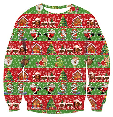 - Women's Ugly Christmas Sweater Pullover Girls Red Santa 3D Printed Cute Green Deer Goat Tree Long Sleeve Crew Neck Funny Stripes Sweatshirts Loose Fit Elastic Boys Sports Jackets Men's Winter Blouse