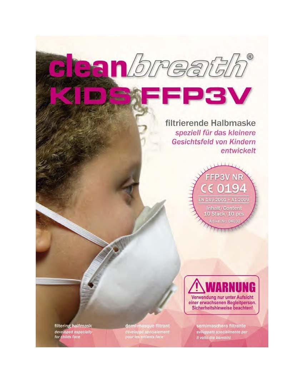 Atemschutzmasken fü r Kinder (10 Stk.) FFP3 mit Ventil in Premium-Qualitä t | Zuverlä ssiger Schutz und Optimaler Sitz Bei Kindergesichtern | Einweg-Staubschutzmaske (Halbmaske) von Clean Breath Asup GmbH