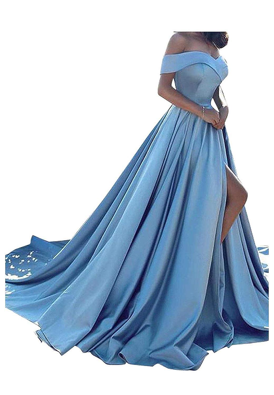Light Sky bluee 20KyleBird Sexy Off Shoulder Satin Prom Evening Dress ALine Strapless Split Party Gowns for Women Formal KB023