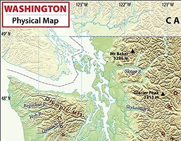 Amazon.com : Washington Physical Map - Laminated (36