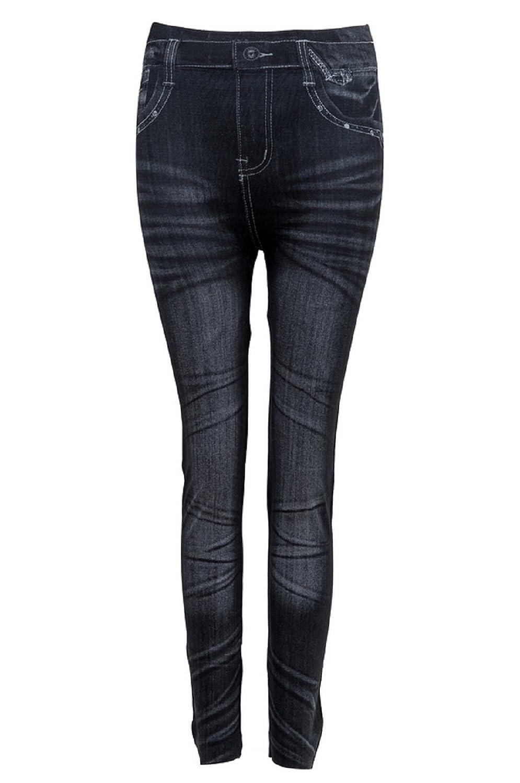"""(Noir) Leggings pour femmes Jeans délavé Pantacollant Unique taille Adhésif élastique Adhésif Idée cadeau"""","""