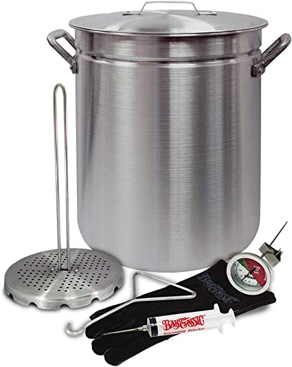 Bayou Classic 1118 32-Quart Stainless Steel Turkey Fryer /& 0186 18-in Nickel-Plated Skimmer Silver 18 inches