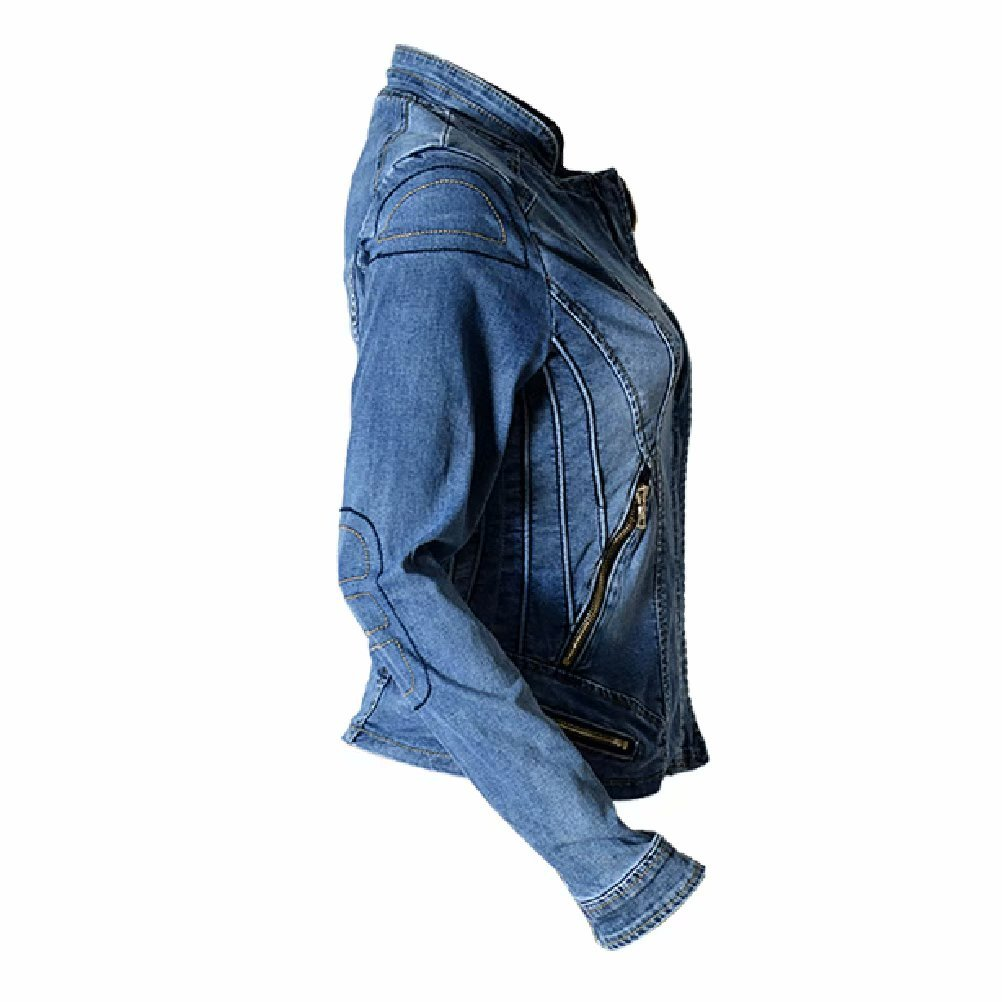 Susielady Women Casual Denim Jacket Jeans Tops Half Sleeve Trucker