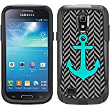 Skin Decal for Otterbox Commuter Samsung Galaxy S4 Mini Case - Anchor Chevron Mini Silver and Black Design