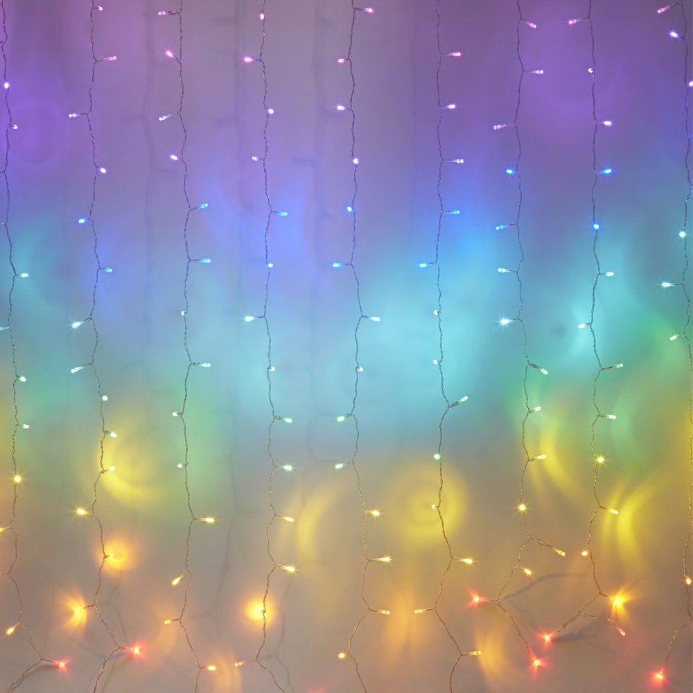 Fefelightup Rainbow Curtain Lights Fairy Lights Icicle Lights Fantasy Unicorn (Rainbow)