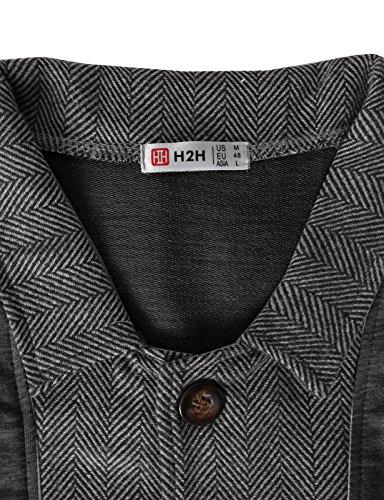 H2H Mens Two-tone Herringbone Jacket Cardigans CHARCOAL US S/Asia M (JLSK03)
