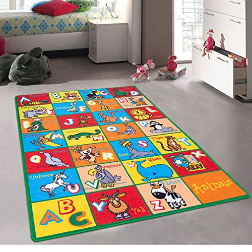 Kids / Baby Room / Daycare / Classroom / Playroom Area Rug. ABC Animals. Zoo. Lion. Dinosaur. Mokey. Educational. Fun. Non-Slip Back. Bright Colorful Vibrant Colors (3 Feet x 5 Feet) (Zoo Animals Classroom)