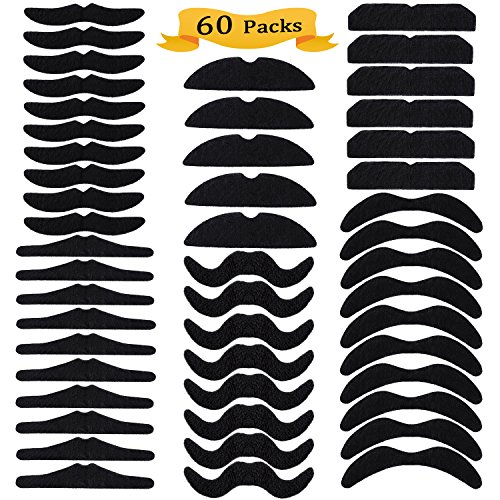 Whaline 60 Piece Fake Mustache Self Adhesive Costume Novelty Mustaches for Party Supplies, Masquerade & Performance (Black)