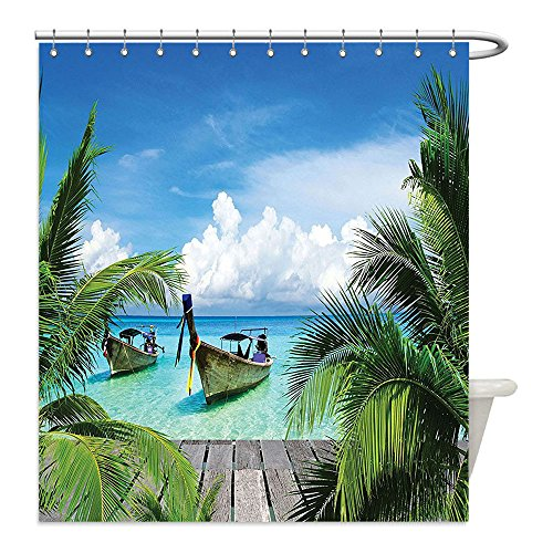 Honey Pot Costume Ideas (Liguo88 Custom Waterproof Bathroom Shower Curtain Polyester Tropical Decor Collection Beach and Tropical Sea Wooden Deck Floating Boats Sunshine Honeypot Picture Print Blue Green Gray Decorative bath)